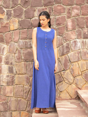 Neela Indigo Dabu Cotton Pintuck Dress - Pinklay