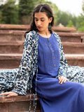Neela Indigo Dabu Pintuck Dress With Angrakha Jacket - Pinklay