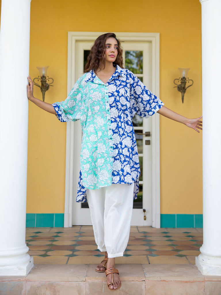 Ocean Rose Over-Sized Asymmetrical Cotton Long Shirt - Pinklay