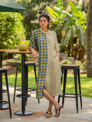 Olive Garden Kaftan Cotton Shirt Dress - Pinklay