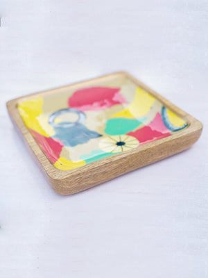Painter's Palette Handcarved Solid Wood Platter - Pinklay