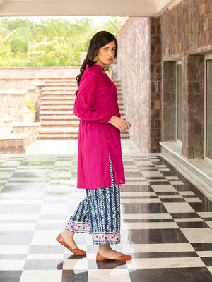 Pink Daisies Modal Silk Pintuck Shirt Kurta and Palazzo Pants - Pinklay