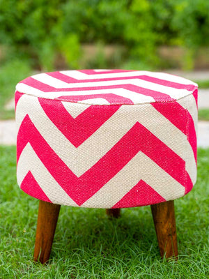 Pink Daisies Upholstered Ottoman - Pinklay