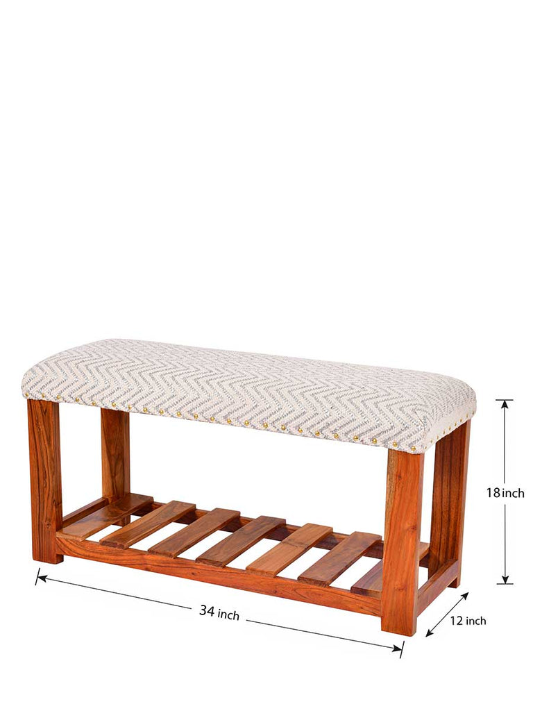 Rain Drops Acacia Solid Wood Storage Bench With Upholstery - Pinklay