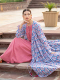 Rooh Cotton Pintuck Dress With Modal Angrakha Jacket - Pinklay
