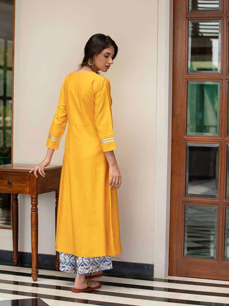 Seher Silk Pintuck Kurta Dress With Modal Palazzo & Dupatta Set - Pinklay