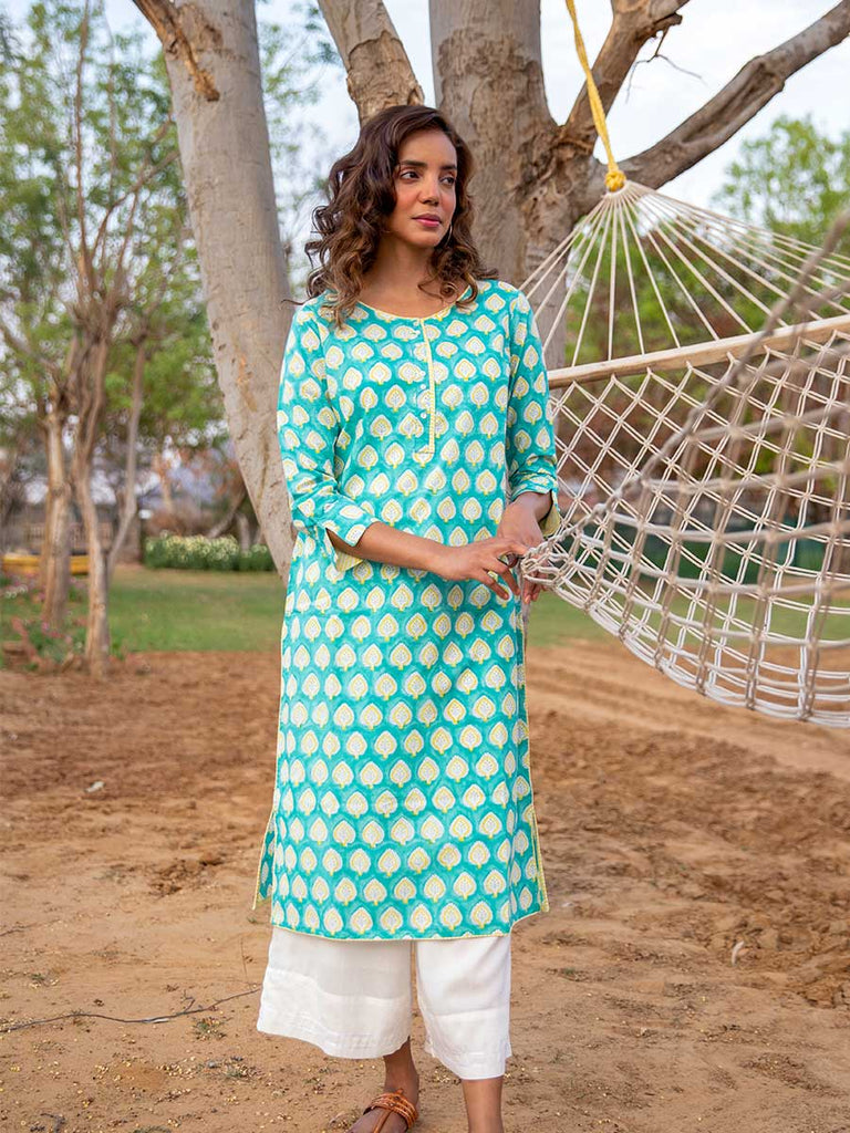 Singing Fields Modal Silk Kurta - Pinklay