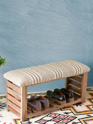 Starry Sky Acacia Solid Wood Storage Bench With Upholstery - Pinklay