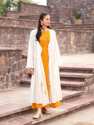Sunheri Cotton Pintuck Dress With Angrakha Jacket - Pinklay