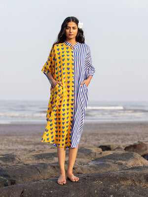 Sunshine Boulevard Kaftan Cotton Shirt Dress - Pinklay