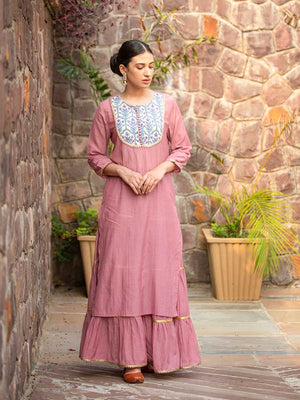 Tabeer Cotton Long Kurta - Pinklay