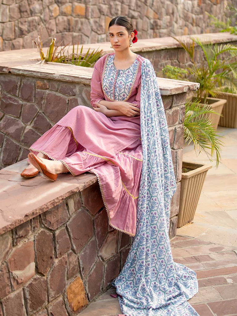 Tabeer Cotton Rayon Sharara Set With Modal Silk Dupatta - Pinklay