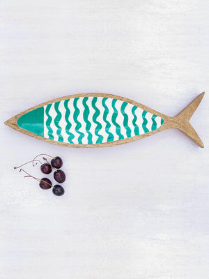 Turquoise Fin Handcarved Solid Wood Platter - Pinklay