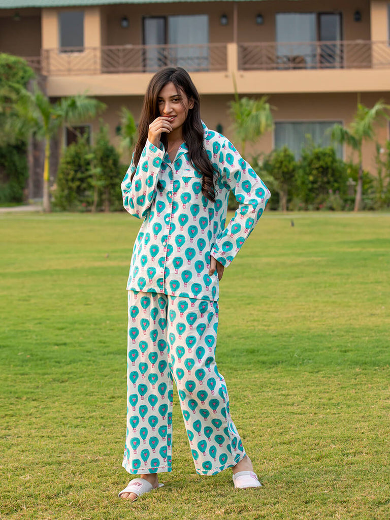 Turquoise Hot Air Balloon Soft Cotton Pajama Set - Pinklay