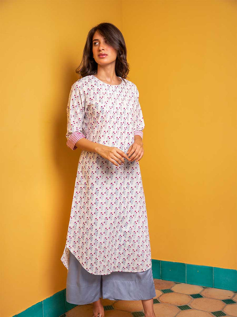 Valley of Flowers Pintuck Long Kurta - Pinklay