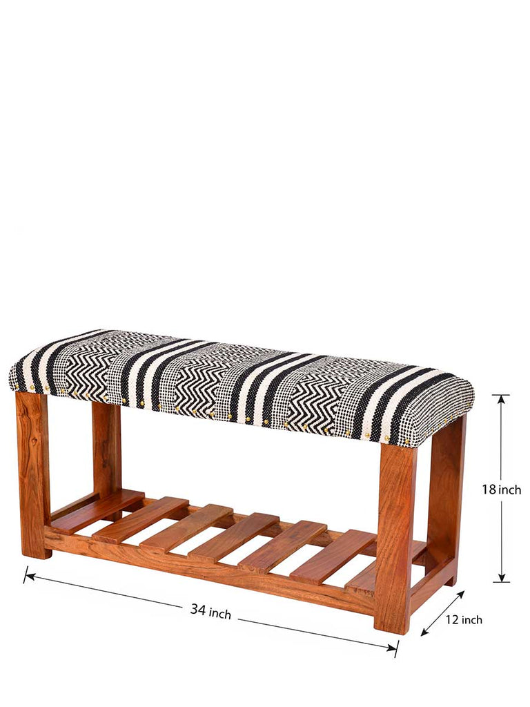 Waldorf Acacia Solid Wood Storage Bench With Seat Cushion - Pinklay