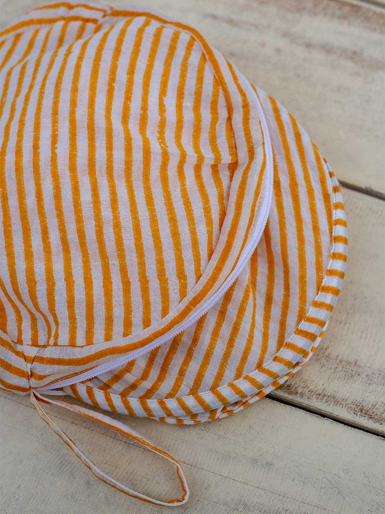 Yellow Stripes Cotton Foldable Hat With Case - Pinklay
