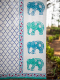 Amer Hand Block Print Cotton Curtain with Border & Concealed Loops