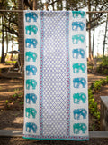 Amer Hand Block Print Cotton Curtain with Border & Concealed Loops - Pinklay