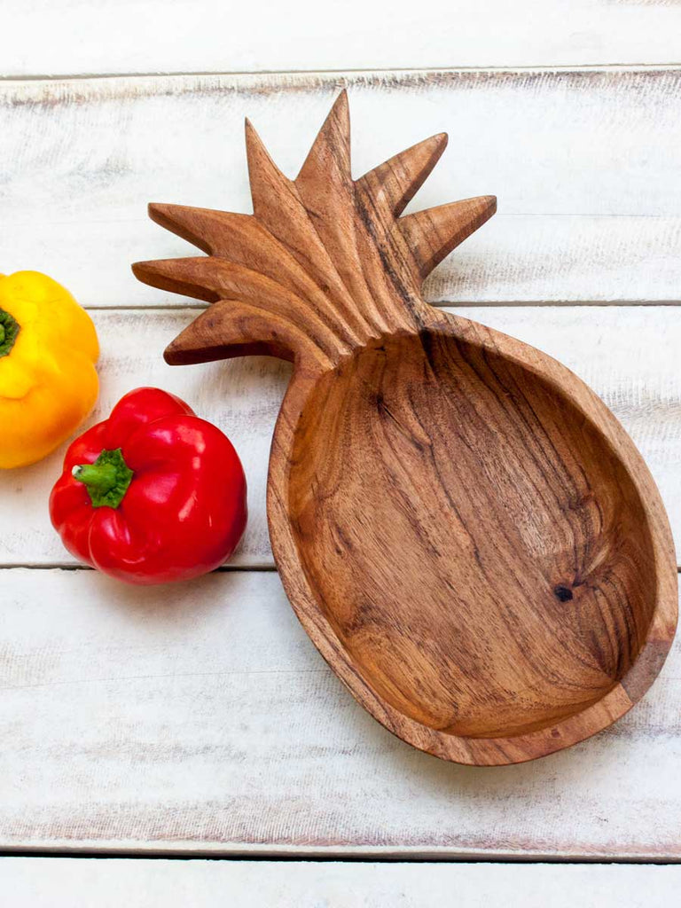 Ananas Handcarved Solid Wood Snack Bowl - Pinklay