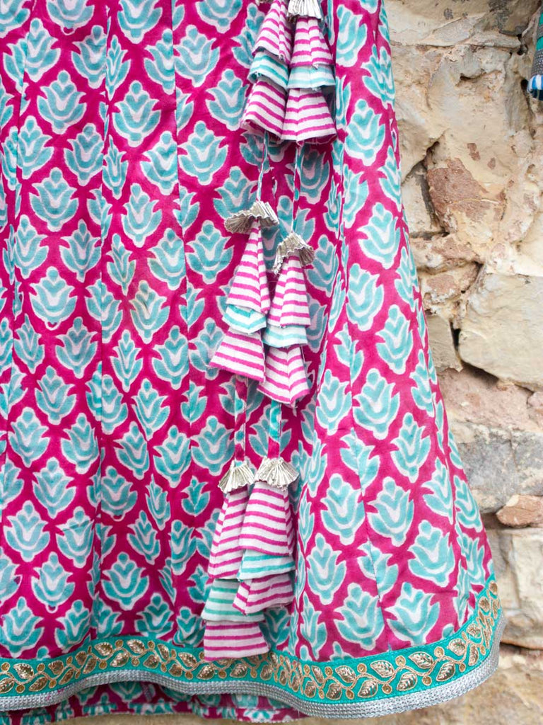 Gulaabi Cotton Silk Lehanga Set of 4