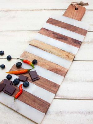 Kilimanjaro Wooden and Marble Long Platter