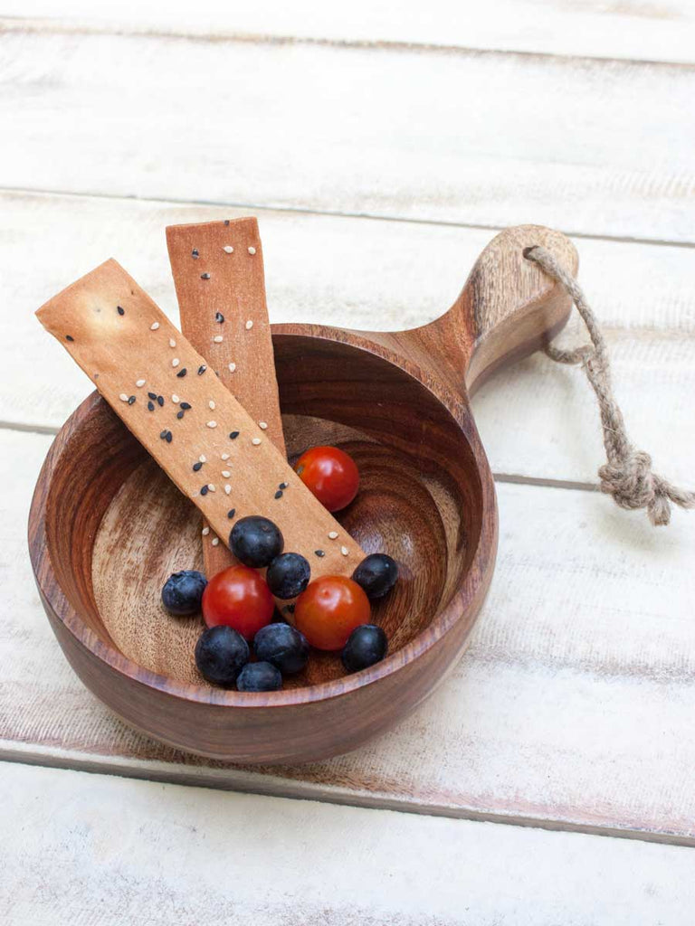 Kivu Handcarved Solid Wood Snack Bowl - Pinklay