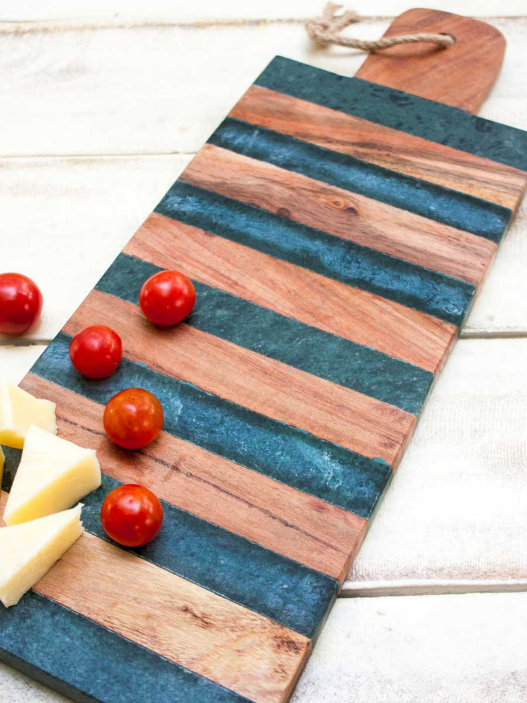 Malawi Wooden and Marble Long Platter