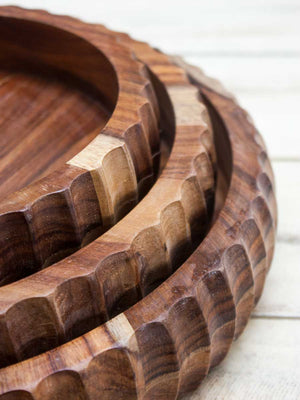 Nakuru Handcarved Solid Wood Bowl - Pinklay