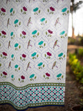 Rambagh Hand Block Print Cotton Curtain with Border & Concealed Loops - Pinklay