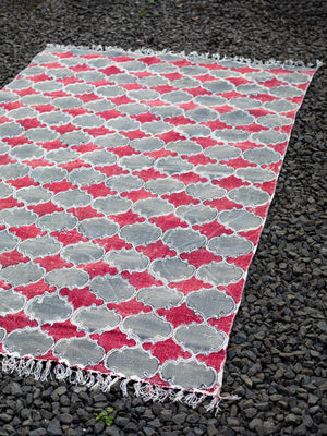 Royal Arch Hand Block Print Cotton Dhurrie Rug - Pinklay