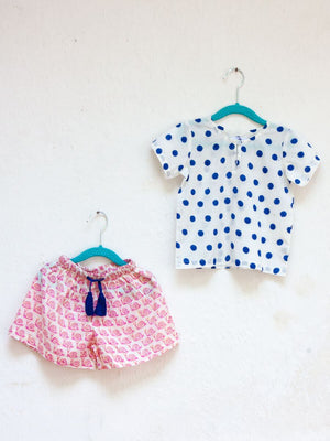 Polka Love Organic Cotton Top & Shorts Set - Pinklay
