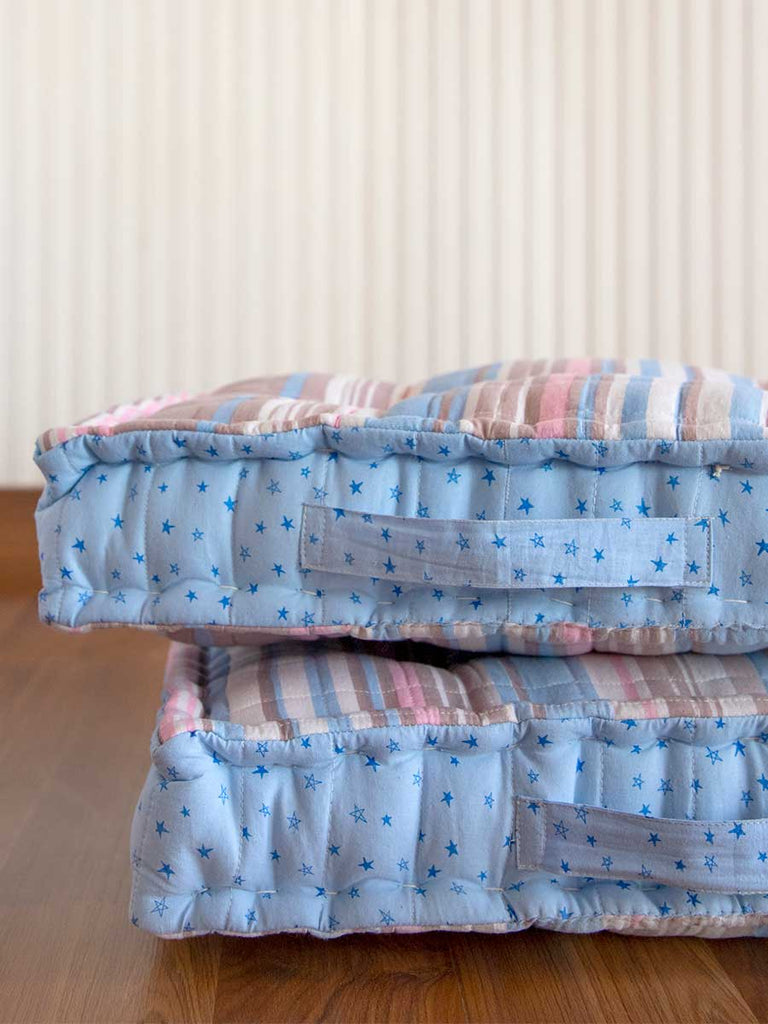 Poppy Stripes Fabric Floor Cushions - Pinklay