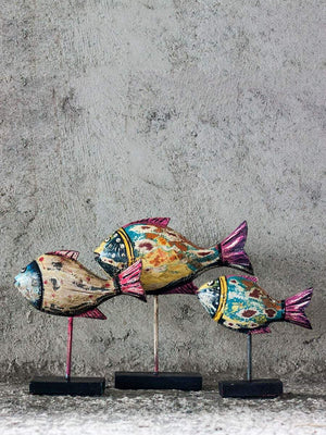 Fish Wooden Distressed Finish Table Stand Sculpture - Set of 3 Home Decor