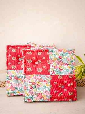 Red Floret Fabric Floor Cushions - Pinklay