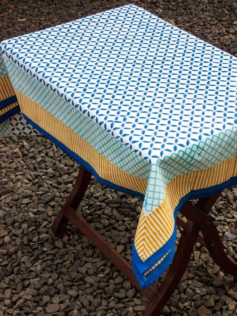 Sitara Hand Block Print Cotton Table Cover - Pinklay