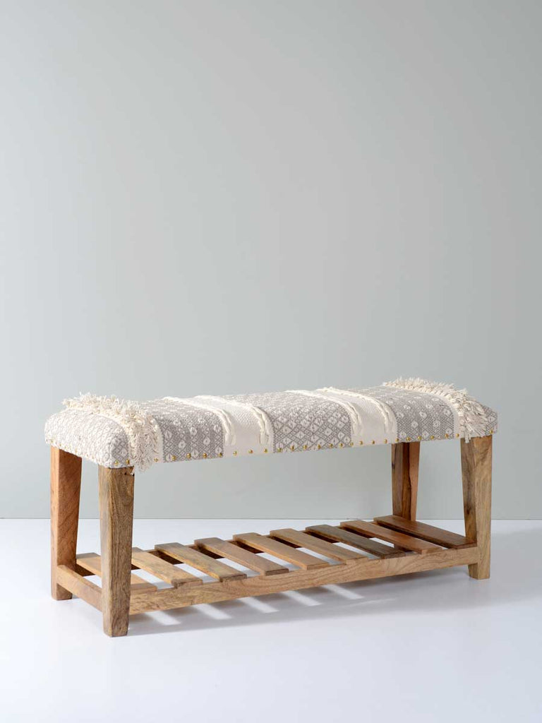 Snow Acacia Solid Wood Storage Bench With Seat Cushion - Pinklay