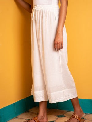 Solid Ivory Modal Silk Palazzo Pants