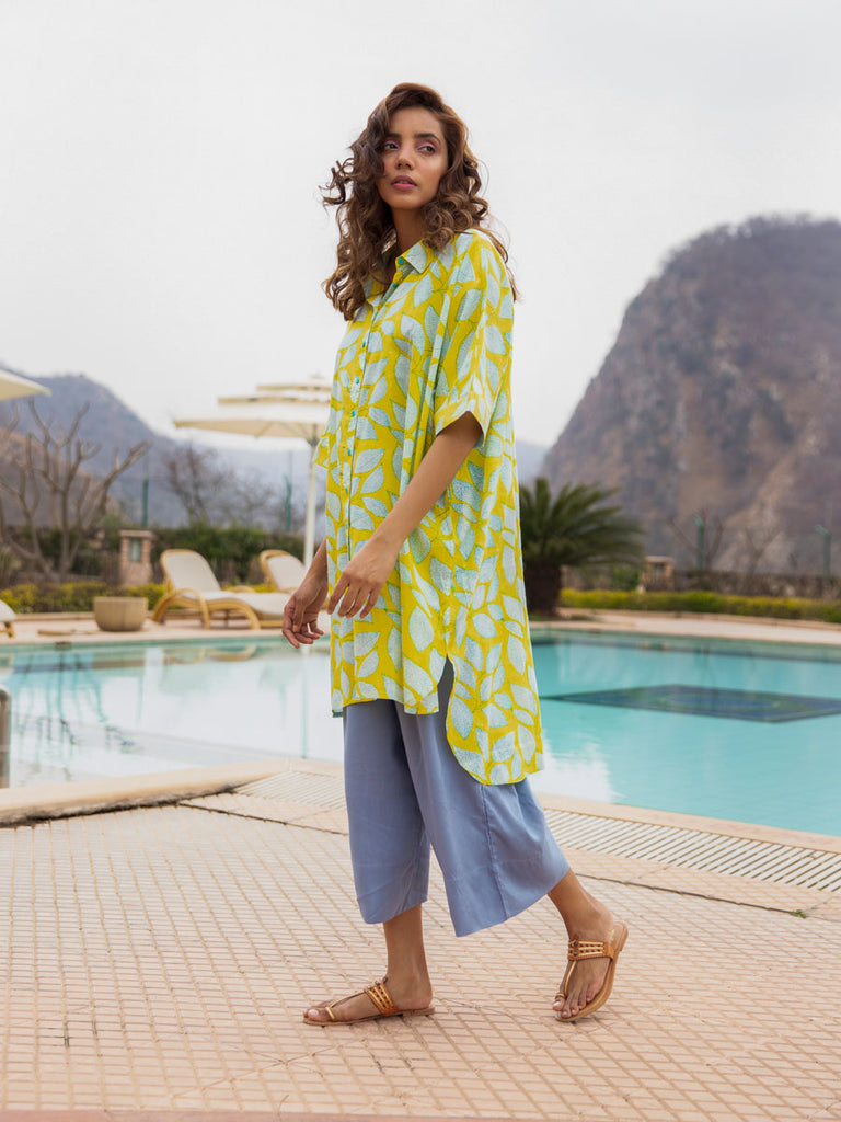 Summer Song Over-sized Asymmetrical Modal Silk Long Shirt