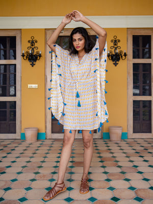 Sunkissed Modal Silk Short Kaftan With Tassels - Pinklay