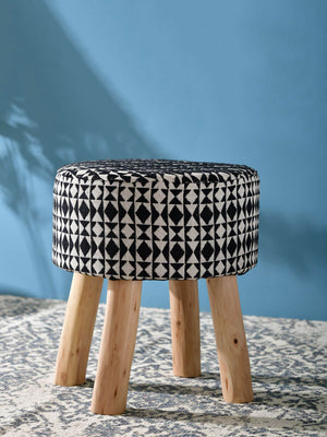 Black Cosmos Upholstered Wooden Stool