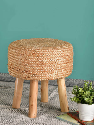 Bora Jute Upholstered Wooden Stool - Pinklay