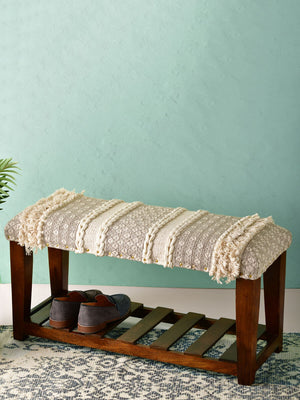 Misty Dew Acacia Solid Wood Storage Bench With Upholstery