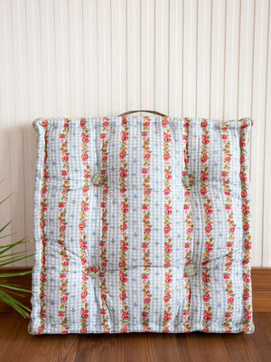 Tropical Row Fabric Floor Cushions - Pinklay