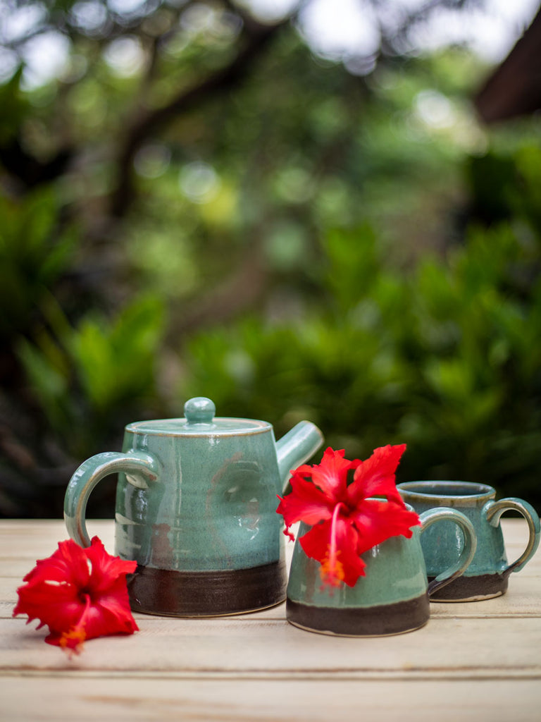 Turquoise Fall Hand-Thrown Dimpled Ceramic Tea Pot Set - Pinklay