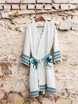 Spring Song Hand Block Print Cotton Bath Robe Bath Robes