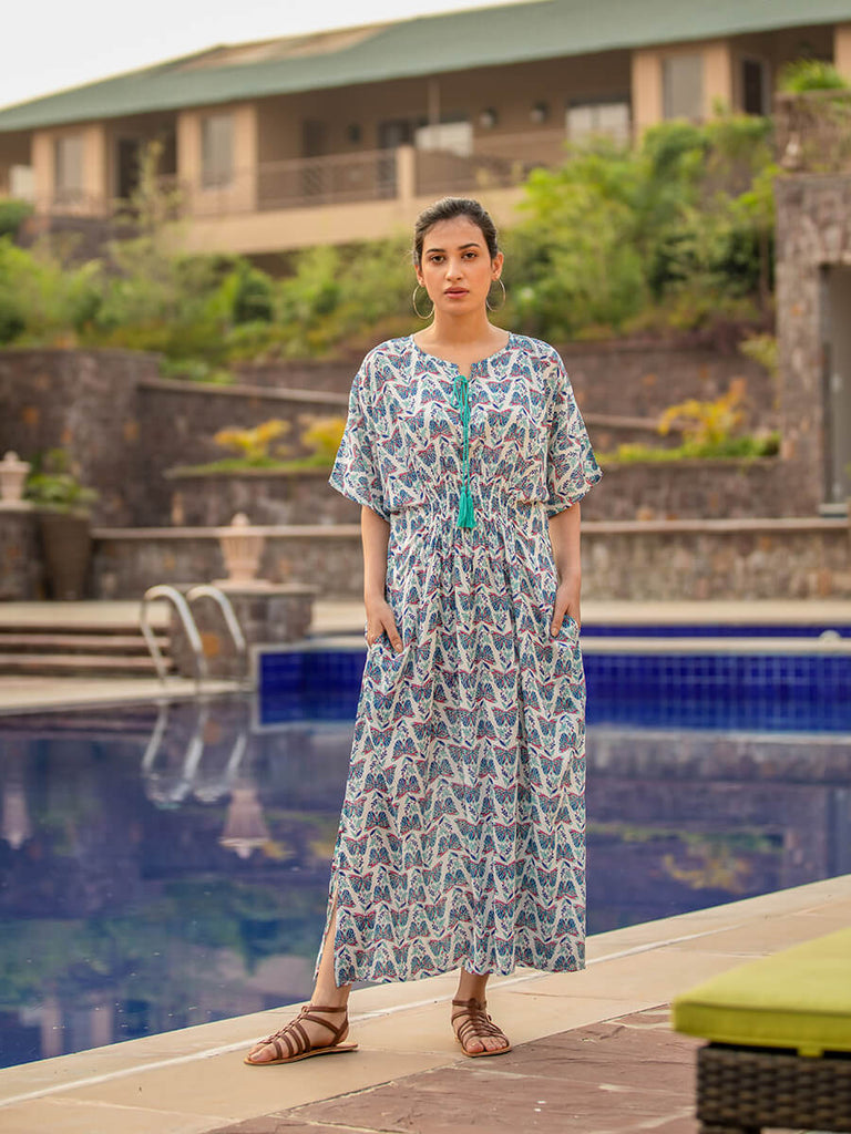 Wings of Wonder Hand Block Print Modal Silk Kaftan Dress - Pinklay