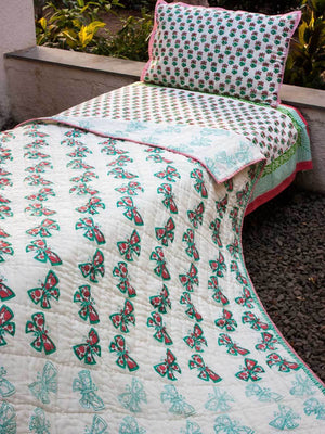 Butterfly GOTS Certified Organic Cotton Reversible Single Bed Quilt - Pinklay