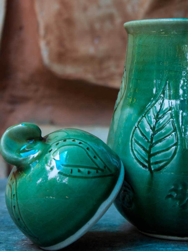 Emerald Hand-Thrown Carved Ceramic Jar - Medium Ceramics