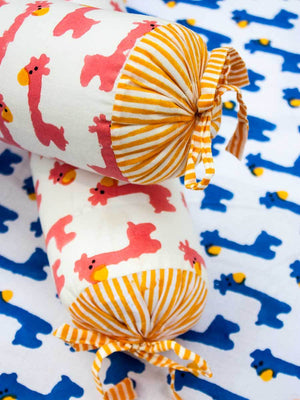 Pink Giraffe Organic Cotton Infant Bolster - Set of 2 Kids Fitted Sheet